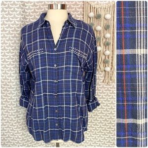Two by Vince Camuto Plaid Stud Embellished Shirt